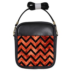 Chevron9 Black Marble & Copper Paint Girls Sling Bags by trendistuff