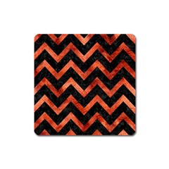 Chevron9 Black Marble & Copper Paint (r) Square Magnet by trendistuff