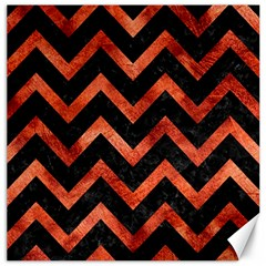 Chevron9 Black Marble & Copper Paint (r) Canvas 12  X 12   by trendistuff