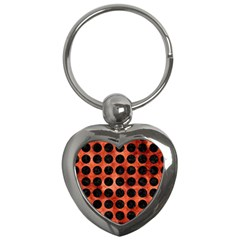 Circles1 Black Marble & Copper Paint Key Chains (heart)  by trendistuff