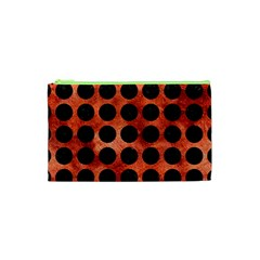 Circles1 Black Marble & Copper Paint Cosmetic Bag (xs) by trendistuff