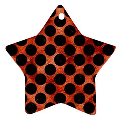 Circles2 Black Marble & Copper Paint Star Ornament (two Sides) by trendistuff