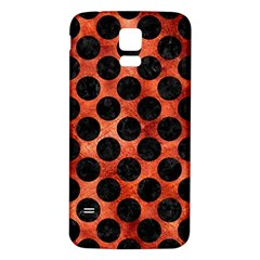 Circles2 Black Marble & Copper Paint Samsung Galaxy S5 Back Case (white) by trendistuff