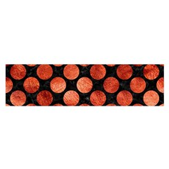 Circles2 Black Marble & Copper Paint (r) Satin Scarf (oblong) by trendistuff