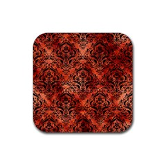 Damask1 Black Marble & Copper Paint Rubber Square Coaster (4 Pack)  by trendistuff