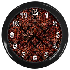 Damask1 Black Marble & Copper Paint (r) Wall Clocks (black) by trendistuff
