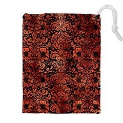 Damask2 Black Marble & Copper Paint (r) Drawstring Pouches (xxl) by trendistuff