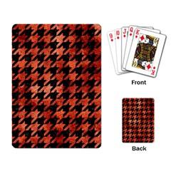 Houndstooth1 Black Marble & Copper Paint Playing Card by trendistuff