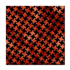 Houndstooth2 Black Marble & Copper Paint Face Towel by trendistuff