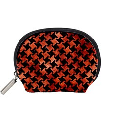 Houndstooth2 Black Marble & Copper Paint Accessory Pouches (small)  by trendistuff