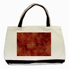 Hexagon1 Black Marble & Copper Paint Basic Tote Bag by trendistuff