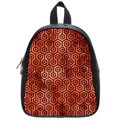 Hexagon1 Black Marble & Copper Paint School Bag (small) by trendistuff