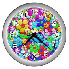 Flowers Ornament Decoration Wall Clocks (silver)  by Celenk