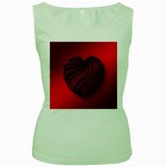 Heart Love Luck Abstract Women s Green Tank Top