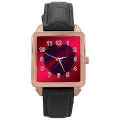 Heart Love Luck Abstract Rose Gold Leather Watch  by Celenk