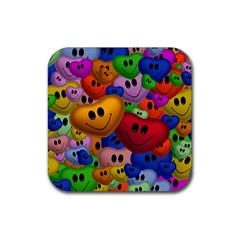 Heart Love Smile Smilie Rubber Coaster (square)  by Celenk