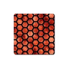 Hexagon2 Black Marble & Copper Paint Square Magnet by trendistuff