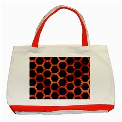 Hexagon2 Black Marble & Copper Paint (r) Classic Tote Bag (red) by trendistuff