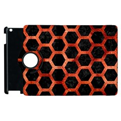 Hexagon2 Black Marble & Copper Paint (r) Apple Ipad 2 Flip 360 Case by trendistuff