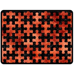 Puzzle1 Black Marble & Copper Paint Double Sided Fleece Blanket (large)  by trendistuff