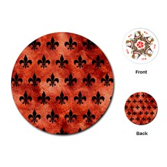 Royal1 Black Marble & Copper Paint (r) Playing Cards (round)  by trendistuff