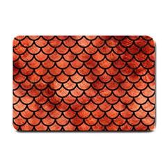 Scales1 Black Marble & Copper Paint Small Doormat  by trendistuff