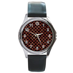 Scales1 Black Marble & Copper Paint (r) Round Metal Watch