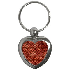 Scales2 Black Marble & Copper Paint Key Chains (heart)  by trendistuff