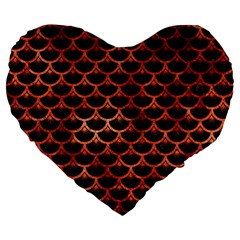 Scales3 Black Marble & Copper Paint (r) Large 19  Premium Flano Heart Shape Cushions by trendistuff