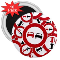 Overtaking Traffic Sign 3  Magnets (10 Pack)  by Celenk