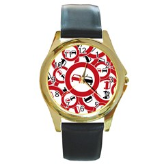 Overtaking Traffic Sign Round Gold Metal Watch