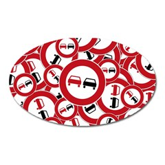 Overtaking Traffic Sign Oval Magnet
