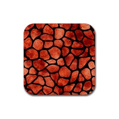 Skin1 Black Marble & Copper Paint (r) Rubber Square Coaster (4 Pack)  by trendistuff