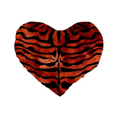 Skin2 Black Marble & Copper Paint Standard 16  Premium Heart Shape Cushions by trendistuff