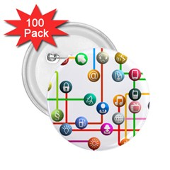 Icon Media Social Network 2 25  Buttons (100 Pack)