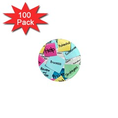 Stickies Post It List Business 1  Mini Magnets (100 Pack)  by Celenk