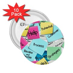 Stickies Post It List Business 2 25  Buttons (10 Pack)  by Celenk