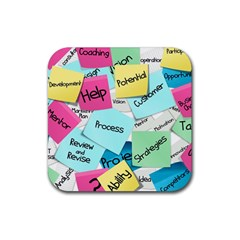 Stickies Post It List Business Rubber Square Coaster (4 Pack)  by Celenk