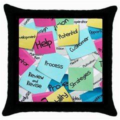 Stickies Post It List Business Throw Pillow Case (black) by Celenk