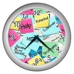 Stickies Post It List Business Wall Clocks (silver)  by Celenk