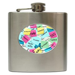 Stickies Post It List Business Hip Flask (6 Oz) by Celenk