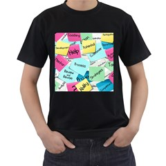 Stickies Post It List Business Men s T Shirt (black) (two Sided) by Celenk