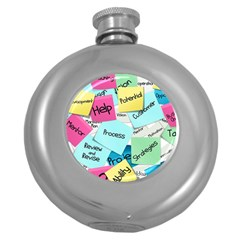 Stickies Post It List Business Round Hip Flask (5 Oz) by Celenk