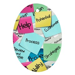 Stickies Post It List Business Oval Ornament (two Sides) by Celenk