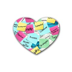 Stickies Post It List Business Heart Coaster (4 Pack)  by Celenk
