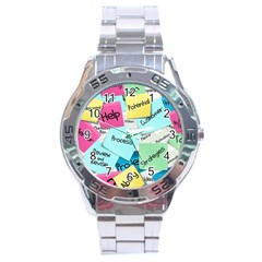 Stickies Post It List Business Stainless Steel Analogue Watch by Celenk