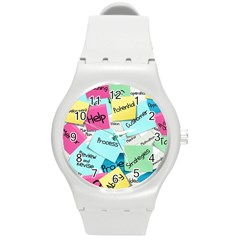 Stickies Post It List Business Round Plastic Sport Watch (m) by Celenk