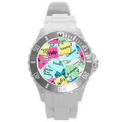 Stickies Post It List Business Round Plastic Sport Watch (l) by Celenk
