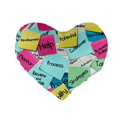 Stickies Post It List Business Standard 16  Premium Flano Heart Shape Cushions by Celenk