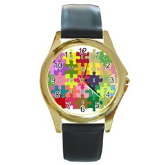 Puzzle Part Letters Abc Education Round Gold Metal Watch by Celenk